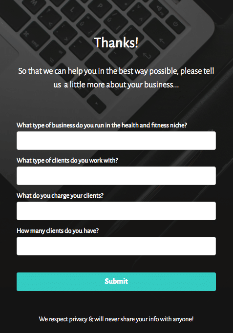 inbound sales process form step 2